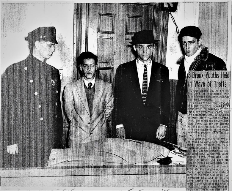 Black and white photo of 3 young men and a police officer with a newspaper clipping. Headline: 3 Bronx Youths Held in Wave of Thefts